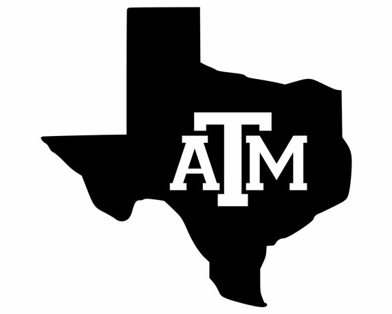 Silhouette Texas Texas decals Lone Star State Silhouette with Texas AM