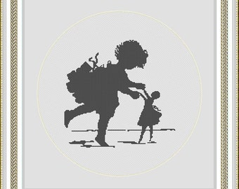 "Tiny Ballerinas - This design is based on artwork by Elizaveta  Bem album of postcards ""Silhouettes of children"" 1877 Instant Download PDF"