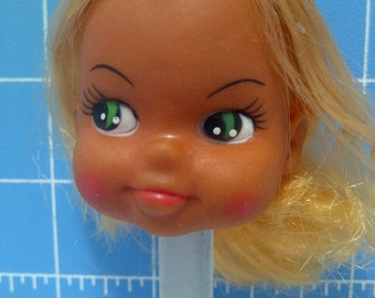 "Vinyl Girl Doll Head with Blonde Rooted Hair, Green Eyes. 3"" Tall with 3/4"" Neck"