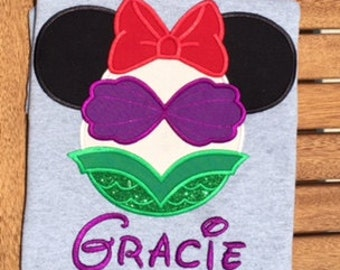Mermaid applique shirt Disney World Arial Shirt Minnie Mouse Ears Little Mermaid