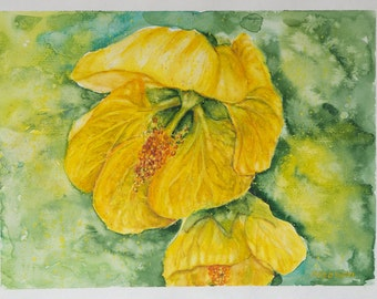 Flowers painting, Yellow Flowers painting, Still Life, Original Watercolor Painting, yellow, aquarelle, floral art