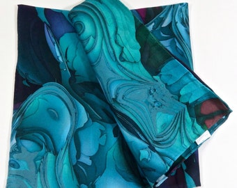 "Silk Satin Pocket Square, ""Oceanic Blue 2"", a 3D Fractal design, 17"" Square,  hand-rolled hem, gifts for men, accessories, gentlemen's gifts"