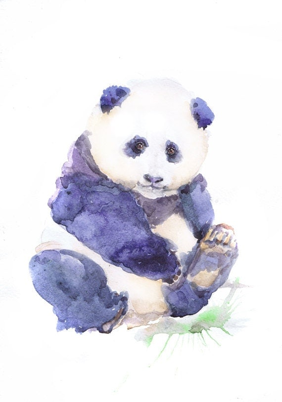 Baby Panda Art Watercolor Painting Boy Girl Nursery By Valrart