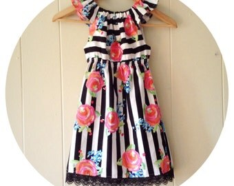 Girls Spring dress- baby girl dresses- flutter sleeve dress- birthday outfit- newborn dress- girls peasant dress