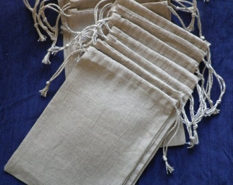 natural linen bags, gift bags, natural packaging, gray linen bags, rustic gift bags, gift bags, linen pouches set of 10, size 5 x 6 inch