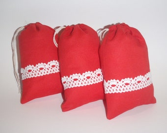 Set of 15 Christmas Gift Bags, Red Bag With White Lace, Merry Christmas Bag,  Greetings Bags, Bag of Sweets for Children