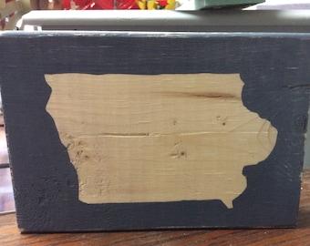 State of Iowa Wooden Art