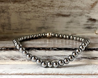 Silver Hematite Bracelet~Silver Bracelet~Bead Bracelet~Stacking Bracelet~Stretch Bracelet~UK Jewellery~Eleanor Rose Jewellery~UK Shop