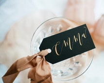 Modern Calligraphy Gift Tags with Rose Gold Ink | Personalized | Wedding | Place Cards | Escort Cards | Party | Rehearsal Dinner | Table top