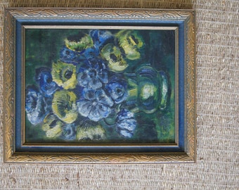 Vintage 1940's - Framed Blue and Yellow Flower Oil Painting 15x12