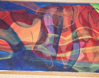 Vintage 1970's Abstract canvas 29x26 Orange Blue and Red Shapes in psychedelic painting Modern