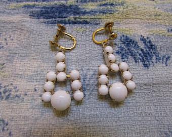 1950s/60s white milk glass & gold-tone drop screw-back earrings