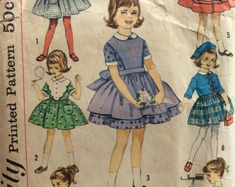 Simplicity 4058 girls dress with full skirt size 5 vintage 1960's sewing pattern
