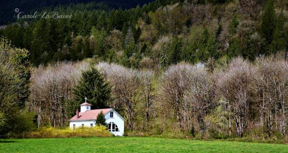 LANDSCAPE TRAVEL PHOTOGRAPHY ~ Church in a Meadow ~ Mountain Backdrop ~ Autumn Photo ~ Scenic ByWays ~ N Cascade Loop, Washington ~ 12 x 18