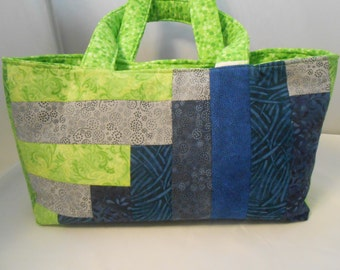 Patchwork Tote Bag, Quilted Tote Bag, Simple Tote, Seattle Inspired Tote, Blue Green Tote, Eco-friendly Bag, Seattle Seahawks Fan Gift