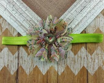 Paisley flower headband,Paisley flower, flower headband, children's headband, girls headband, green and pink headband, green flower headband