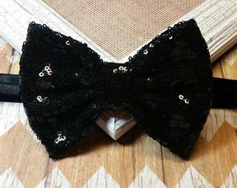 Black Sequin Bow Headband,  Sequin bow headband, Shiny black headband, Black Sequin Bow, 5 inch black sequin bow