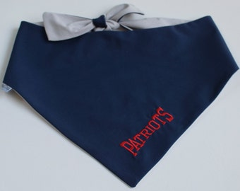 New England Patriots NFL Team Spirit Dog Bandana || Classic Tie Pet PupDana || Ready to Ship Personalized Puppy Gift || Three Spoiled Dogs
