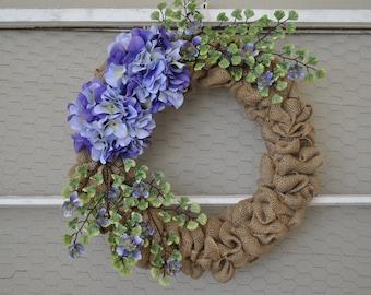 Spring Burlap Wreath   Purple Hydrangea Wreath   Spring Front Door