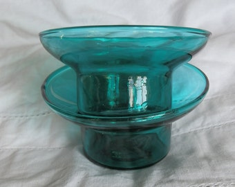 Two Vintage Dark Green Glass Candle Holders / Tea Light Holders / Pillar Candle