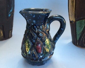 "4"" Mid Century Vintage Italian Art Pottery Incised Pitcher Italy"