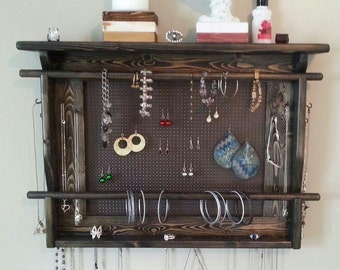 Jewelry Organizer, LARGE Wall Mounted Jewelry Holder, New Ebony Finish, earring holder with necklace hangers and 2 bracelet bar