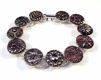 Vintage Venetian and Czech Glass Button Bracelet; Button Bracelet; Vintage Bracelet; Venetian Glass; Czech Glass