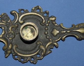 Antique Ornate Brass Candle Holder With Tray