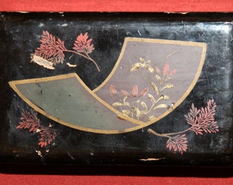 Antique Handcrafted Lacquer Wood Floral Box
