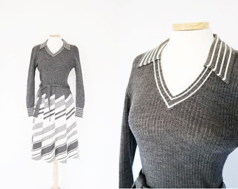 Vintage 1980s Grey and White Striped Ribbed Sweater Long Sleeved Dress