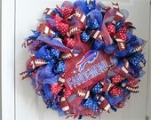 Buffalo Bills wreath, Buffalo Bills, sport team wreath, Buffalo Bills decoration, Fandemonium