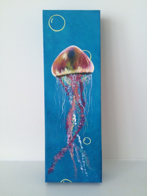 Jellyfish 12x4 acrylic painting on canvas