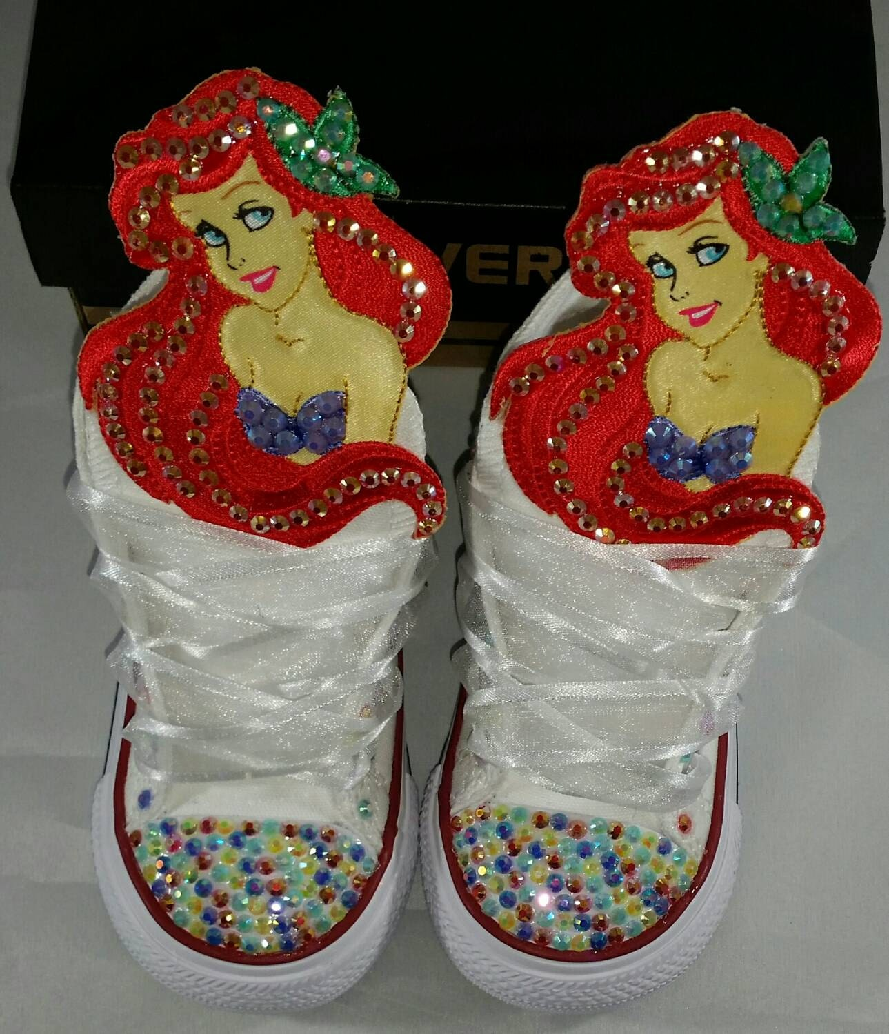 Girls Bling Custom Converse Sneakers Minnie Mouse Hello