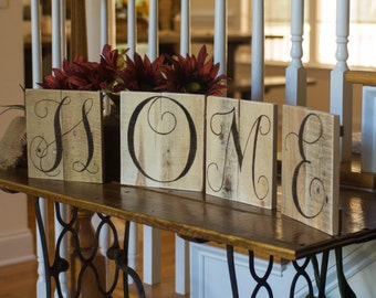 Home sign Home sweet home word art Wood art Reclaimed wood wall art Wedding letters Rustic letters Wall monogram Rustic home decor Pallet