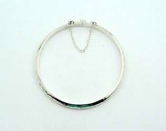 Vintage Hollow Sterling Silver Hinged Bangle Bracelet With Safety Chain  #BNGBR-BB2