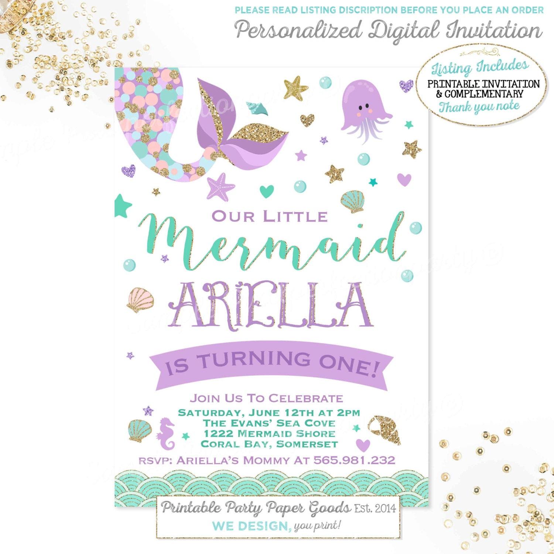 Mermaid Invitation Mermaid Birthday Invitation Teal Purple