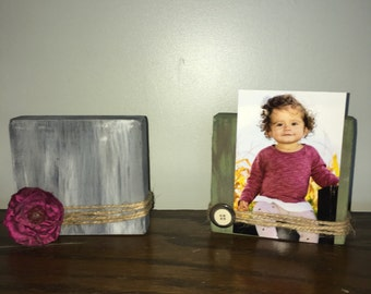 Accent Photo holders, wood photo holders, wood home decor, rustic photo holder, small shelf accents,
