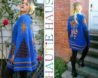 Vintage 70s Acrylic Sweater Cape Poncho STURBRIDGE Blue Aztec Mayan Inca South American Ziggarut Hippie Boho Festival ONE SIZE Fits Most