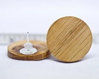 Free Shipping Red Oak Wood Stud Earrings or Fake Plugs 1 inch