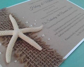 Starfish Invitations Rustic Invitations Beach Wedding Invitations Destination Wedding Invitations