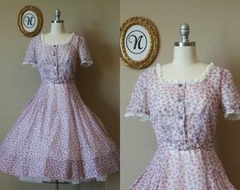 Vintage 1940s ~ 40s Floral Summer Dress