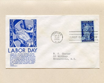 US First Day of Issue Cover Labor Day Camden NJ September 3 1956 Stamp 1082 Fdc  Stephen Anderson Cachet Addressed Bronxville NY - 6598P