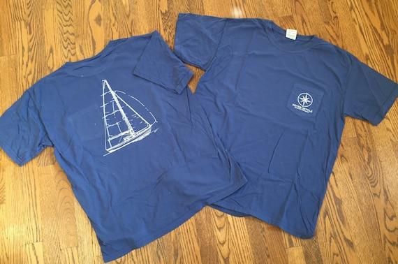 COMFORT COLORS China Blue Sailboat Short Sleeve Pocket   Never Settle  Apparel
