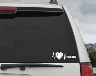 Dodgers Heartbeat EKG Baseball Heart Decal- Car Window Decal Sticker