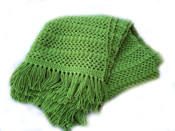 Ready to Ship**Free Shipping**/Crochet Blanket/Green Blanket Throw/Knit Knitted Afghan Couch Blanket/Grass Green Throw/Green Afghan Throw