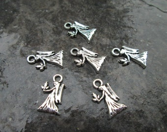 Small Angel charms package of 6 Antique silver Angel Charms Christmas Charms Perfect for Adjustable Bangle Bracelets