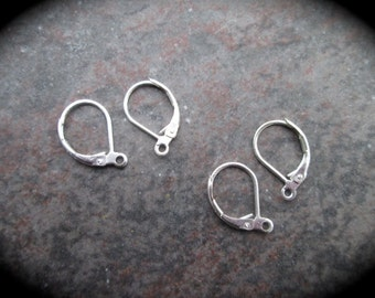 Sterling Silver Leverback Earwires 2 pairs Sterling Silver earring findings USA seller Stamped 925