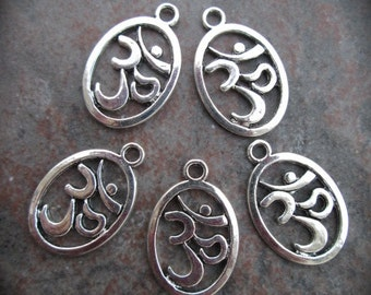 Om symbol Charms package of 5 charms perfect for adjustable bangle bracelets Yoga charms Oval Om charms