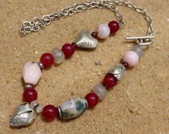 Pink Opal Necklace Ocean Jasper Garnet Agate Karen Hill Tribe Silver Heart Toggle Boho Strawberry Charm Rose Flower Red Gemstone Sterling