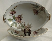 "Woodrose (F & B Japan) by Meito 11"" Oval Vegetable Bowl  Tan Flowers, Green Leaves"